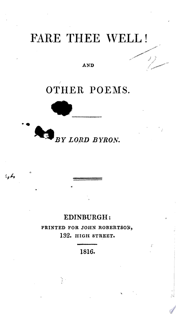 Fare Thee Well  and other poems