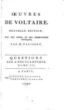 Œuvres de Voltaire: Questions sur l'Encyclopédie