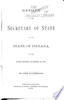 Report of ... [the] Secretary of State of the State of Indiana ...