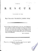 The Rescue. Inscribed to the Right Honourable Charles James Fox