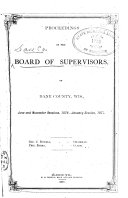 Proceedings of the Board of Supervisors of Dane County  Wisconsin