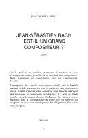 Jean-Sébastien Bach est-il un grand compositeur?