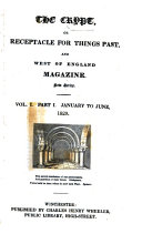 The Crypt  or Receptacle for things past  and West of England magazine  New ser   of The Crypt and Wheeler s Hampshire and West of England magazine