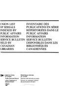 Inventaire Des Publications en S  rie R  pertori  es Dans Le Public Affairs Information Service Bulletin Disponibles Dans Les Biblioth  ques Canadiennes