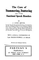 The Cure Of Stammering Stuttering And Other Functional Speech Disorders Book