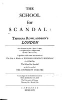 The School for Scandal  Thomas Rowlandson s London