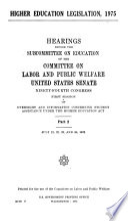Higher Education Legislation  1975