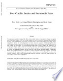 Post Conflict Justice And Sustainable Peace