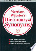 Merriam Webster s Dictionary of Synonyms Book