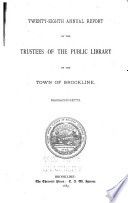 Annual Report of the Trustees of the Public Library of the Town of Brookline Book