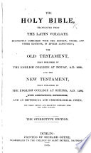 The Holy Bible, Translated from the Latin Vulgate ... Stereotype Edition Pdf/ePub eBook