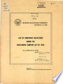 List Of Companies Registered Under The Investment Company Act Of 1940