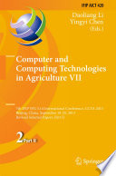 Computer And Computing Technologies In Agriculture Vii Book PDF