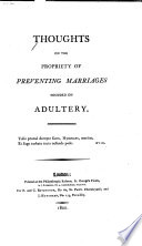 Thoughts on the Propriety of Preventing Marriages Founded on Adultery