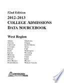 2012 2013 College Admissions Data Sourcebook West Edition