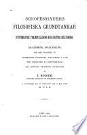 Schopenhauers filosofiska grundtankar i systematisk framställning och kritisk belysning...