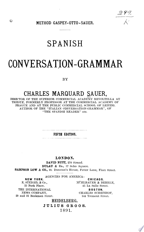 Spanish Conversation grammar