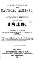 The Nautical Almanac   Astronomical Ephemeris  for the Year