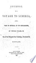 Journal of a Voyage to Liberia