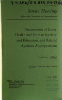 Departments of Labor  Health and Human Services  and Education  and Related Agencies Appropriations for Fiscal Year 1996