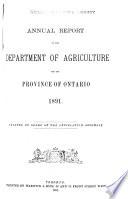Ontario  Canada  Department of Agriculture  Annual Report Book