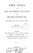 The poll for the southern division of the west riding of the county of York     1865