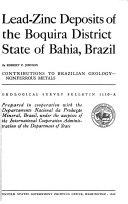 Lead-zinc Deposits of the Boquira District, State of Bahia, Brazil