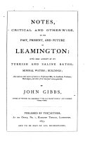 Pdf Notes, critical and otherwise, on the past, present, and future of Leamington