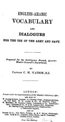 English Arabic Vocabulary and Dialogues for the Use of the Army and Navy