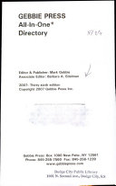 Gebbie Press All In 1 Directory 2007
