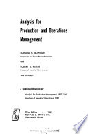 Analysis for Production and Operations Management