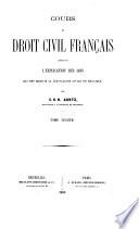 Cours de droit civil franc̦ais
