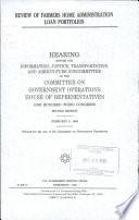 Review Of Farmers Home Administration Loan Portfolios