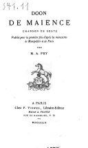 Les Anciens poëtes de la France ...: Doon de Maience
