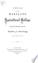 Announcement of the Maryland Agricultural College
