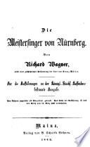 Die Meistersinger von Nürnberg, Meistersinger von Nürnberg Libretto