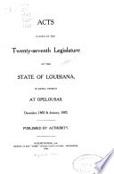 Acts Passed By The Legislature Of The State Of Louisiana