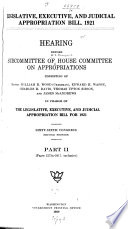 Legislative, Executive, and Judicial Appropriation Bill, 1921