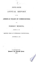 Annual Report American Board Of Commissioners For Foreign Missions