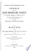 Minutes of the     Annual Meeting of the General Conference of the Congregational Churches in Maine