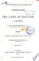 Commentaries on the Laws of England in Four Books by William Blackstone  Abridged and Adapted to the Present State of the Law by Robert Malcolm Kerr