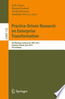 Practice Driven Research On Enterprise Transformation Book PDF