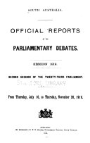 Official Reports Of The Parliamentary Debates Hansard