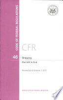 Code Of Federal Regulations Title 46 Shipping Pt 500 End Revised As Of October 1 2011