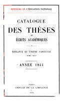 Catalogue des thèses et écrits académiques