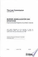 Murder, Manslaughter and Infanticide