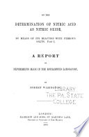On the Determination of Nitric Acid as Nitric Oxide Book