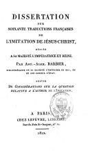Dissertation sur soixante traductions françaises de l'Imitation de Jésus-Christ