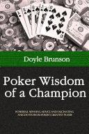 Poker Wisdom of a Champion