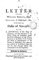 A Letter from William Shirley, Esq; Governor of Massachuset's Bay